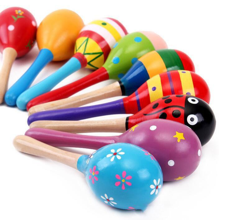 20PCS Hot Sale Baby Wooden Toy Rattle Baby Cute Baby Toys Rattles And Shakers Toys Orff Musical Instruments Educational Toys Free Ship
