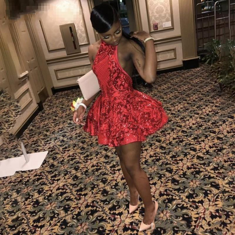 Sexy Halter Backless Red Short Prom Dresses for Black Girls Sequins African Graduation Dress 2020 Mini Cocktail Party Dress