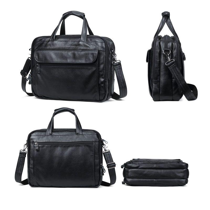 "Briefcase Briefcases New Men Capacità 15 ""Borse da uomo Grande Borsa da uomo Genuine Business Messenger Laptop Borsa in pelle per laptop"