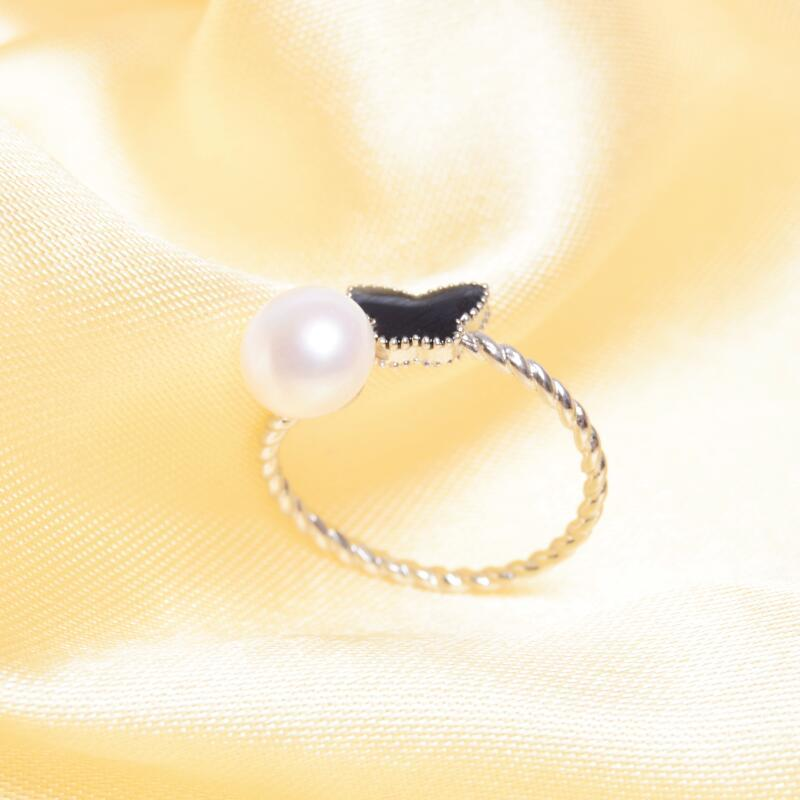 ASHIQI Solid 925 Sterling Silver ring butterfly Natural Freshwater Pearl Rings women Fashion Party Pearl jewelry