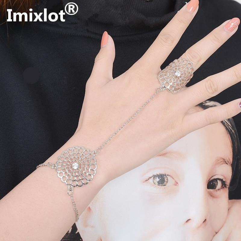 Women Fashion Flower/snowflake Alloy Chain Ring Metal Hand Harness Chain Slave Finger Ring Boho Jewelry C19022301