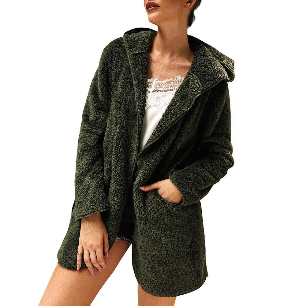 Femmes d'hiver en polaire manches longues à capuche Gardez Manteau chaud Casual Outwear solide avec poche pour les vêtements pour femmes Streetwear 2019