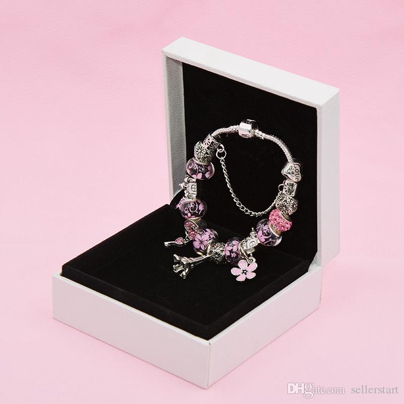 Браслет Новый Charm башня Подвеска для Pandora Платина DIY бисера Lady Элегантный браслет с оригинальной коробке подарка праздника