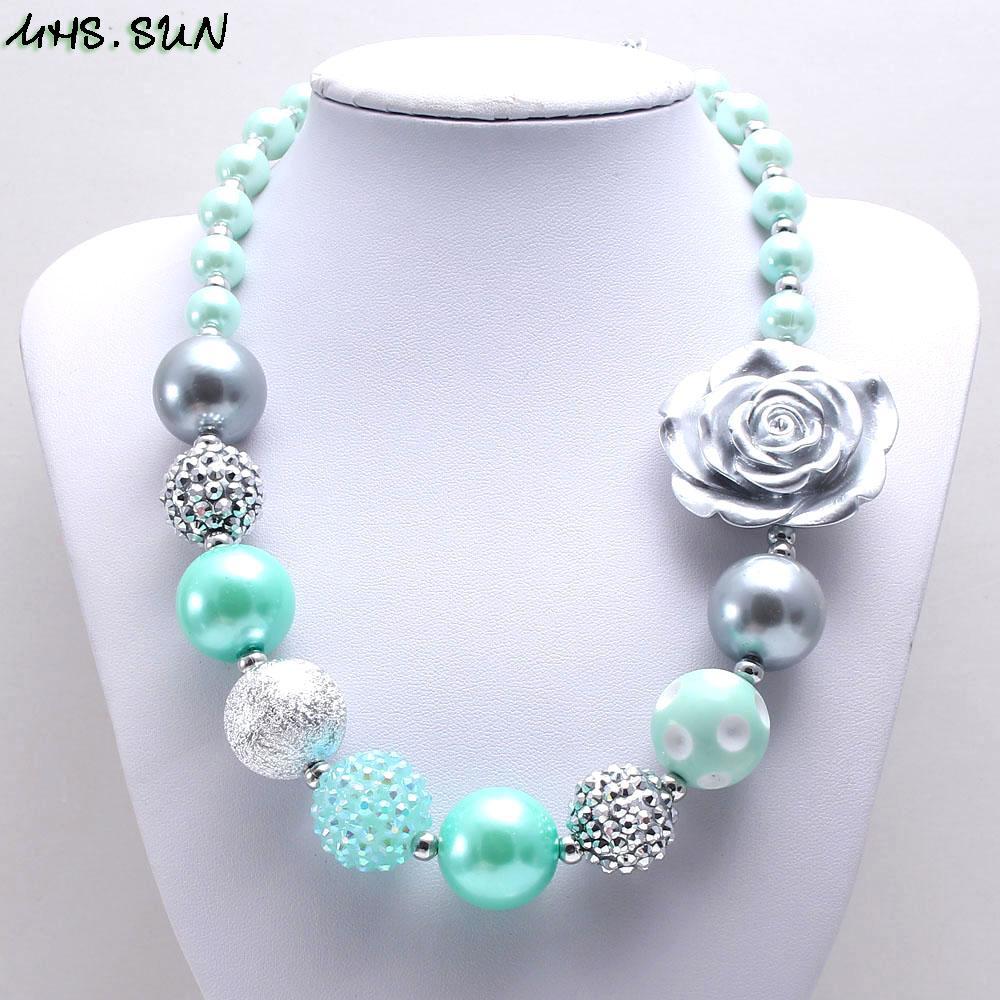 MHS.SUN 2019 primavera nuevo estilo bebé chunky chicle collar menta verde + collar de cuentas de plata para niñas niños juguete 1pc / lote