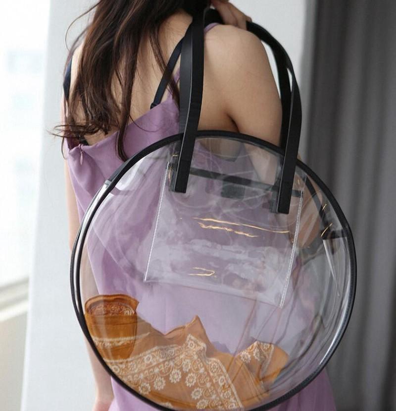 Borse in plastica trasparente per ragazze Designer Summer Beach Round Clear Bag Borsa a tracolla grande donna Borse per la spesa impermeabile Y19061204
