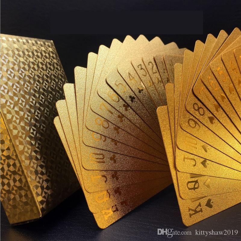 24 كيلو الذهب لعب الورق سحر الدعائم لعبة البوكر لعبة سطح السفينة بطاقة بلاستيكية للماء