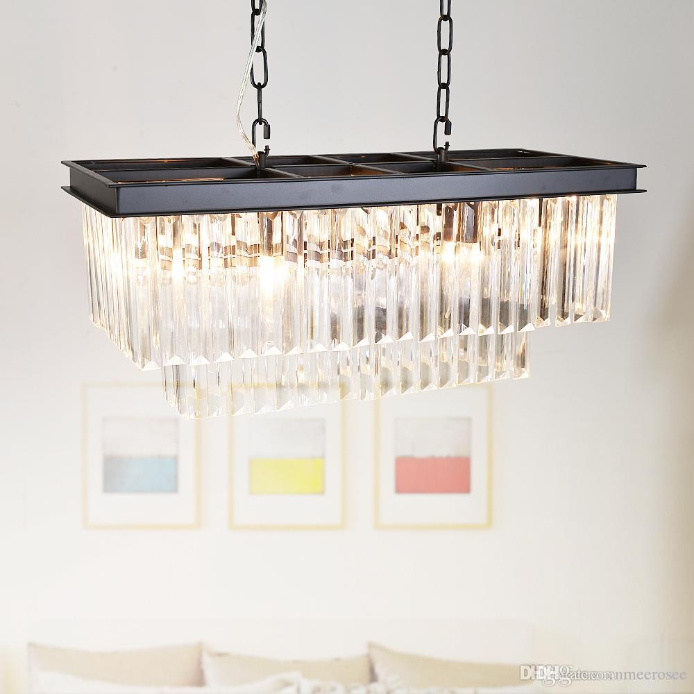 Modern Crystal Pendant Light Fixture Rectangle Crystal Hanging Lamp Popular Crystal Drop Lamparas Lving room Hotel Project Cafe