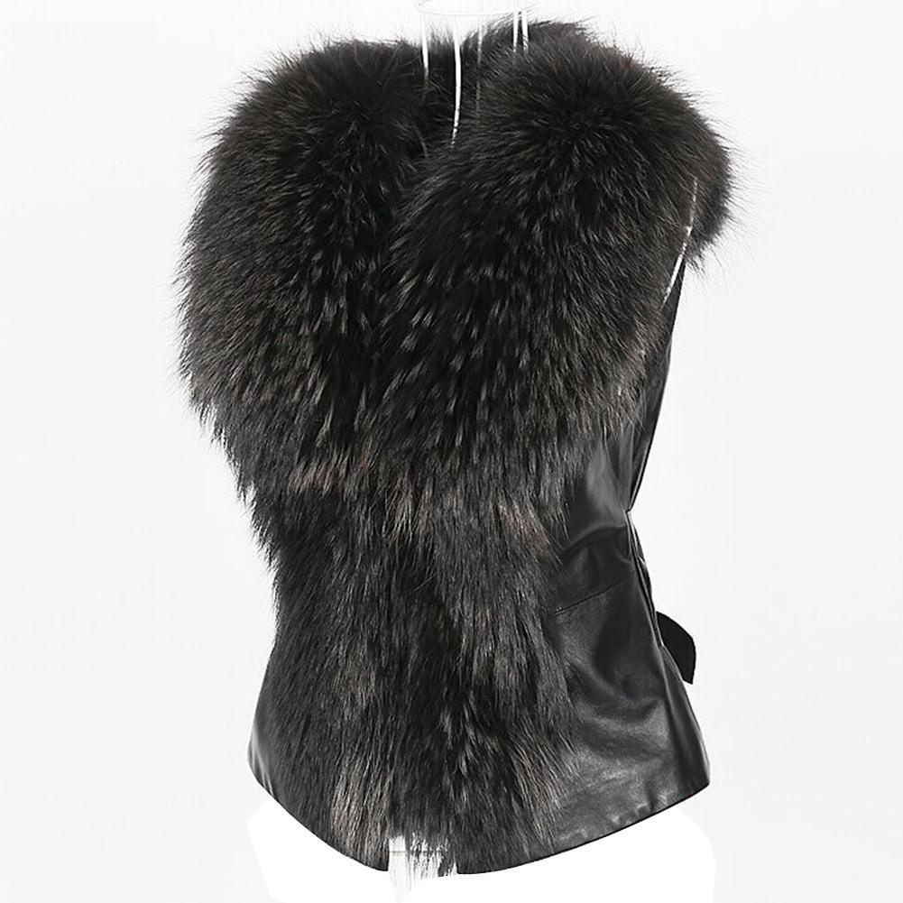 2019 Señora elegante de piel falsa chaleco ocasional del chaleco de invierno del otoño V-cuello sólido Escudo 2019 de la cremallera suave sin mangas de las mujeres Outwear