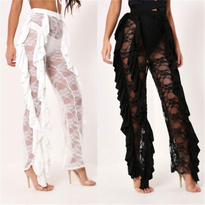 984ac88686a73 2019 Sexy Women Beach Mesh Ruffles Swimsuit Cover-up Pants Plus Size Hot  Sale Ladies Sheer Wide Leg Pants Bikini Cover Up Size S-2XL