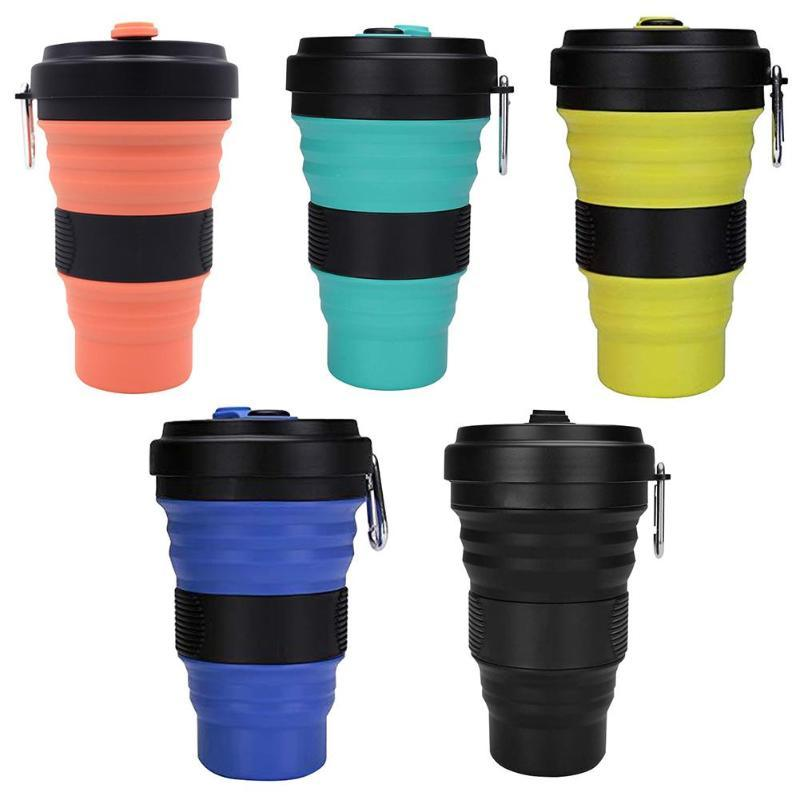 Copa Folding Outdoor Cup Outdoor portátil Silicone 550ml de café da água Silica Gel Grade PP Viagem Produtos