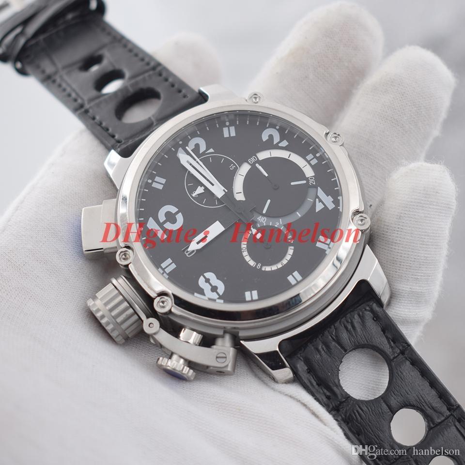 NEW mens Uhren Luxusuhr Japan Quarzwerk Chronograph Linke Krone montre de luxe Große Wahl schwarze Lederband Armbanduhr
