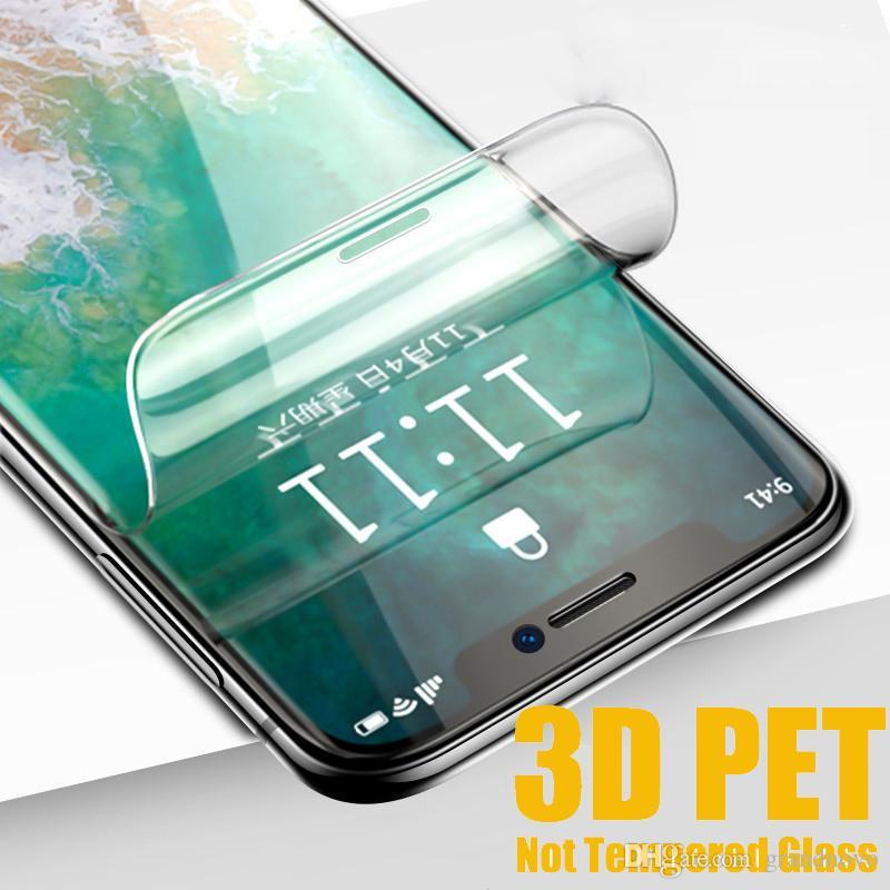 Tam Kapak 3D Kavisli Ekran Koruyucu PET Yumuşak Guard iPhone 12 Pro Max 11 XS XR X 8 7 6 6S Artı SE 2020 (Not temperli cam)