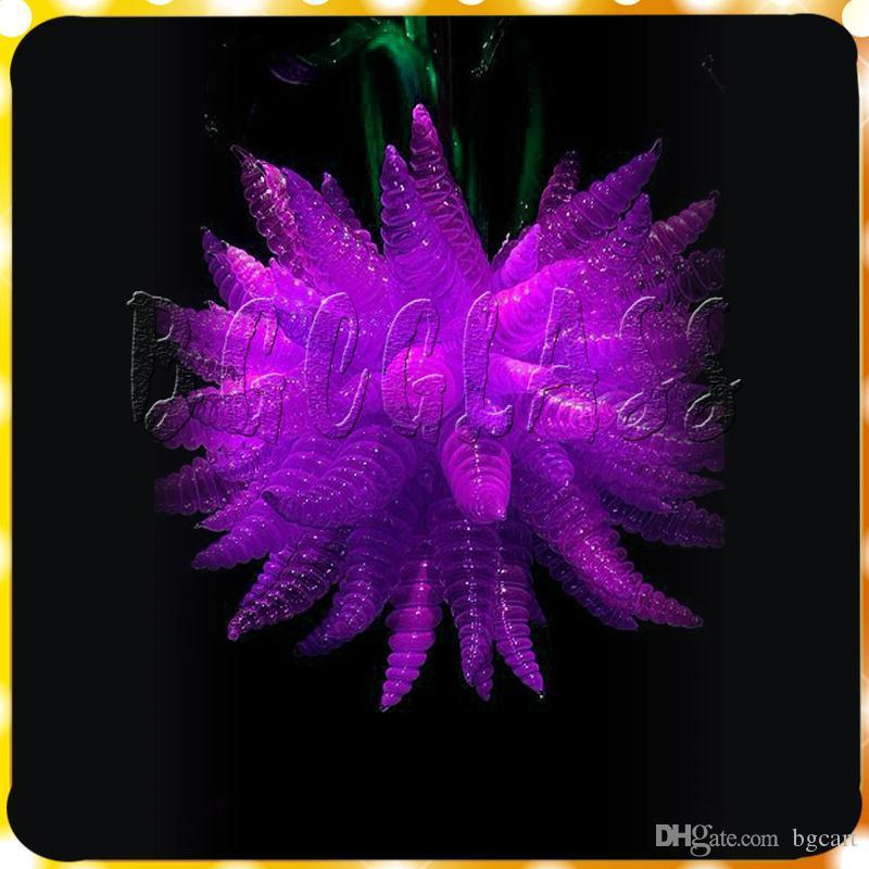 في مهب الساخن بيع اللون الأرجواني توفير الطاقة اليد زجاج كريستال الثريا أنيق أفضل ديكور الرئيسية مصابيح تشيهولي نمط الثريا الإضاءة