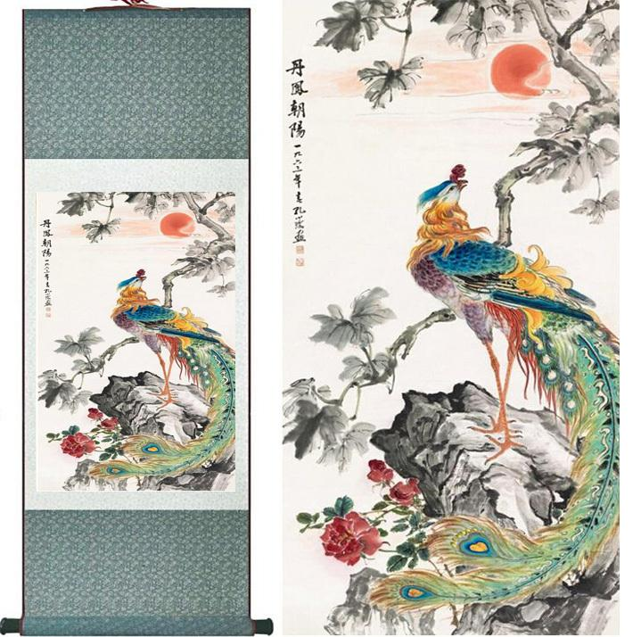 Traditional Silk Art Painting Prospitious And Auspicious Chinese Art Painting Home Office Decoration Chinese Painting