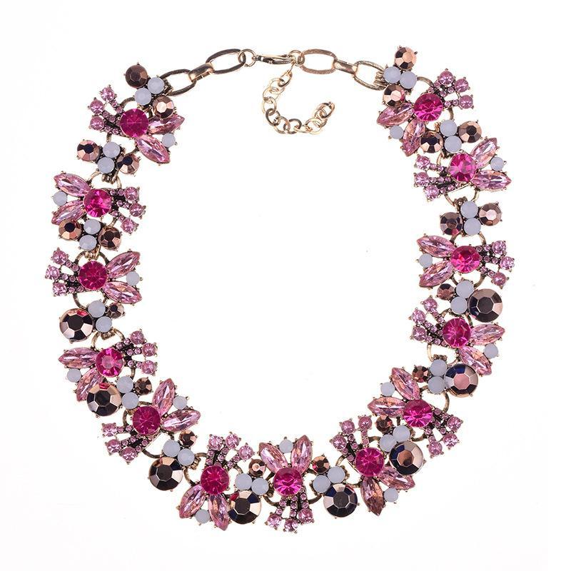 2020 neue Kristall-Blumen-Big-Halskette Frauen-Weinlese großer Kragen Halskette Weibliche Partei Statement