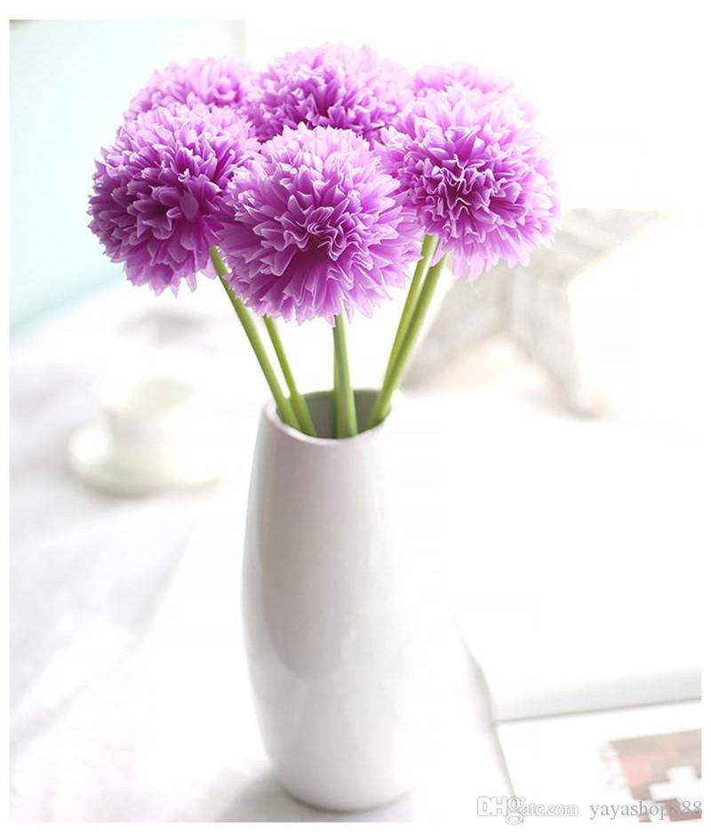 Wholesale 10PCS Decorative Artificial Slik Flowers hydrangea green onion ball imitation flowers Weeding Home Decor Festival Party Supplies