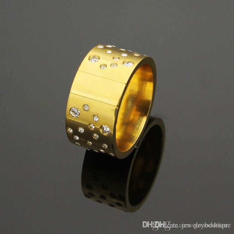 2018 Top quality Stainless steel punk Lovers Band Rings with many diamonds in 18K Rose Gold or gold and platinum plated for women and man b