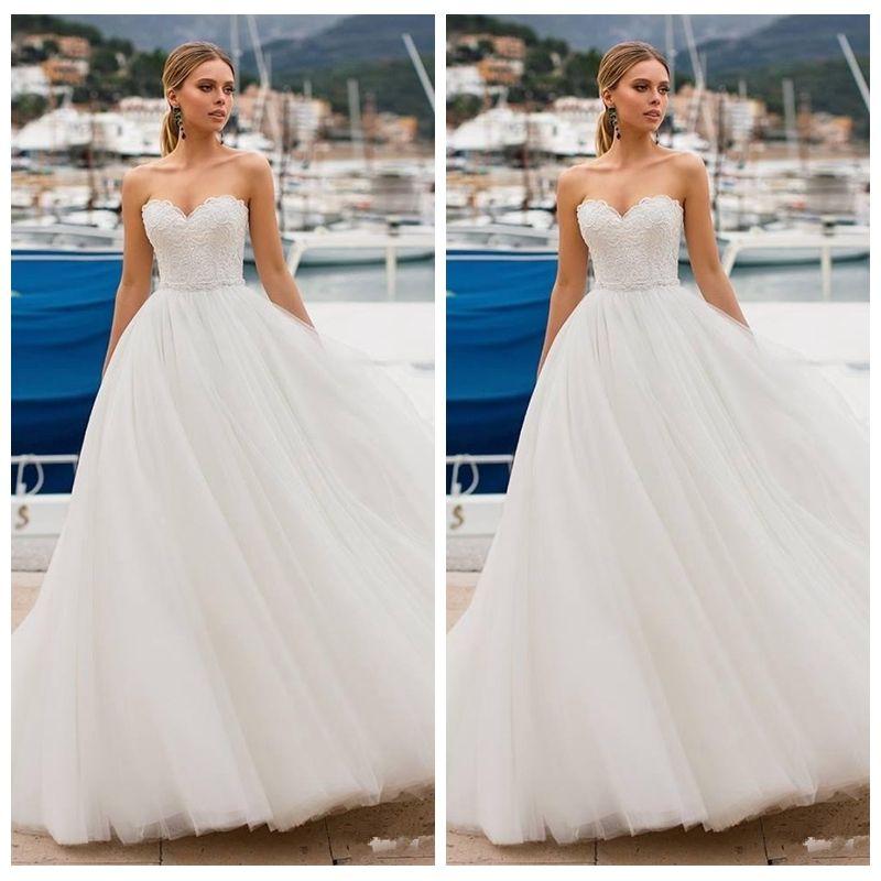 2020 Querida Lace Top A Linha de Vestidos de Noiva Simples Macio Tule Vestidos de Noiva Primavera Barato Longo Robe De Casamento