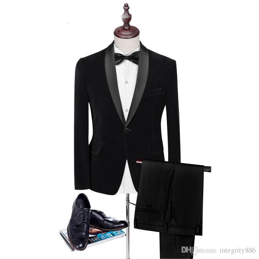 Personnaliser Black Velvet Groom Smokings Châle Revers Groomsmen Robe De Mariée Automne Hiver Style Hommes Formelle Robe De Soirée De Bal Costume (Veste + Pantalon + Cravate) 884