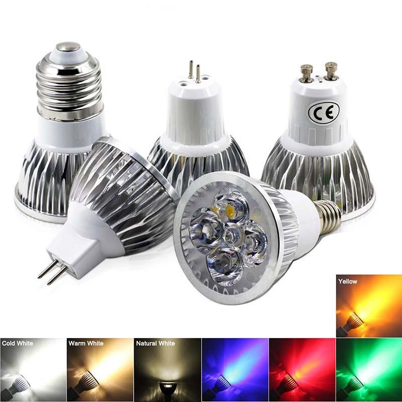السوبر مشرق GU10 / E27 85-265V LED لمبة الضوء الأصفر / أحمر / أخضر / أزرق / دافئ / بارد الضوء الأبيض MR16 12V LED أسفل ضوء مصباح