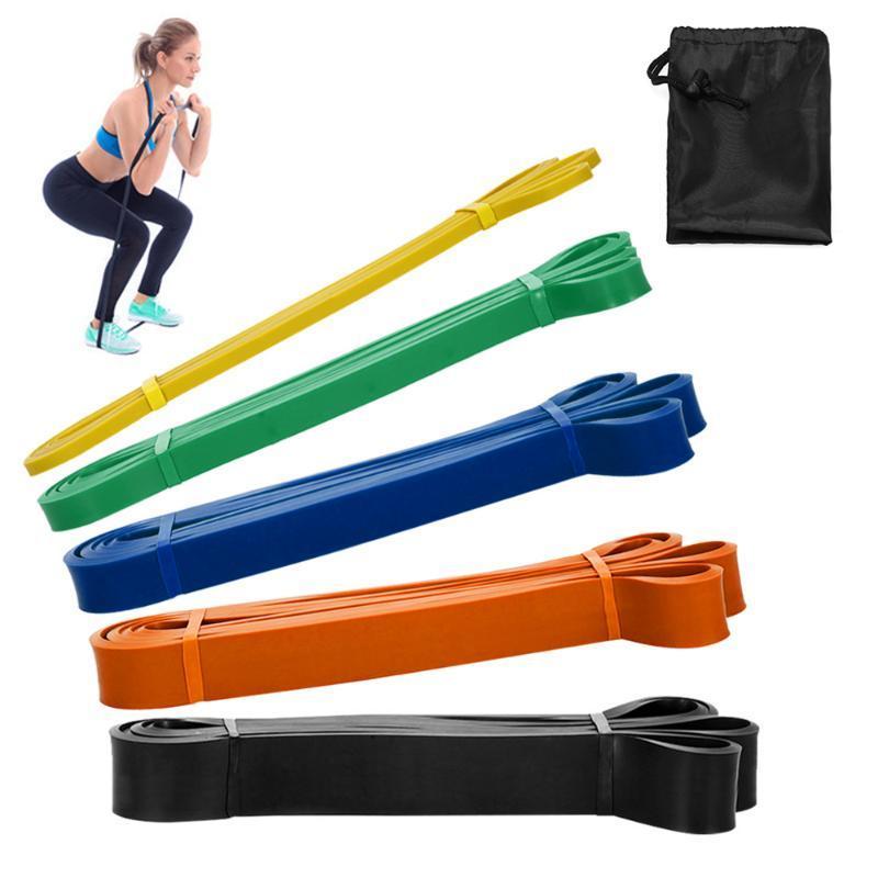 Пакет из 5 полос Сопротивление петли Набор Латекс Йога силовой тренировки Pull Up Assist Bands Home Gym Фитнес тренировки упражнения Ленточнопильные