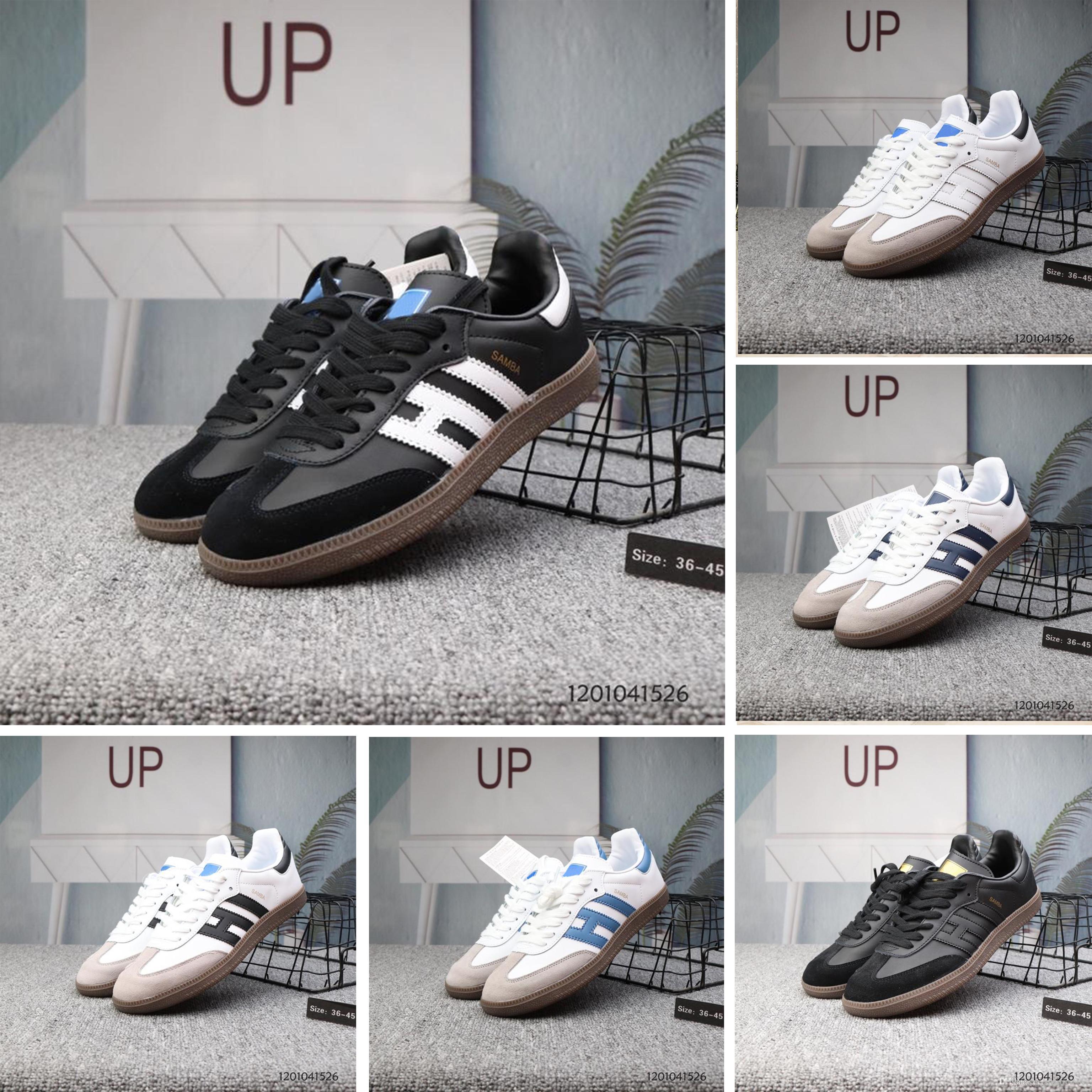 2019 novos formadores de samba mens sapatos casuais designer de moda da marca gazela de couro og preto branco rosa homens runner das mulheres sapatilhas calçados esportivos
