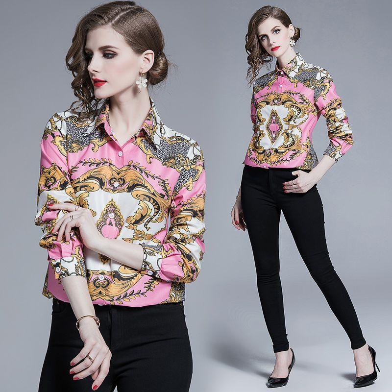 2019 Designer de luxo rosa Blusas Mulheres Plus Size Tops Casual Runway Vintage Imprimir manga comprida lapela Neck Botão Ladies Palácio shirt Escritório