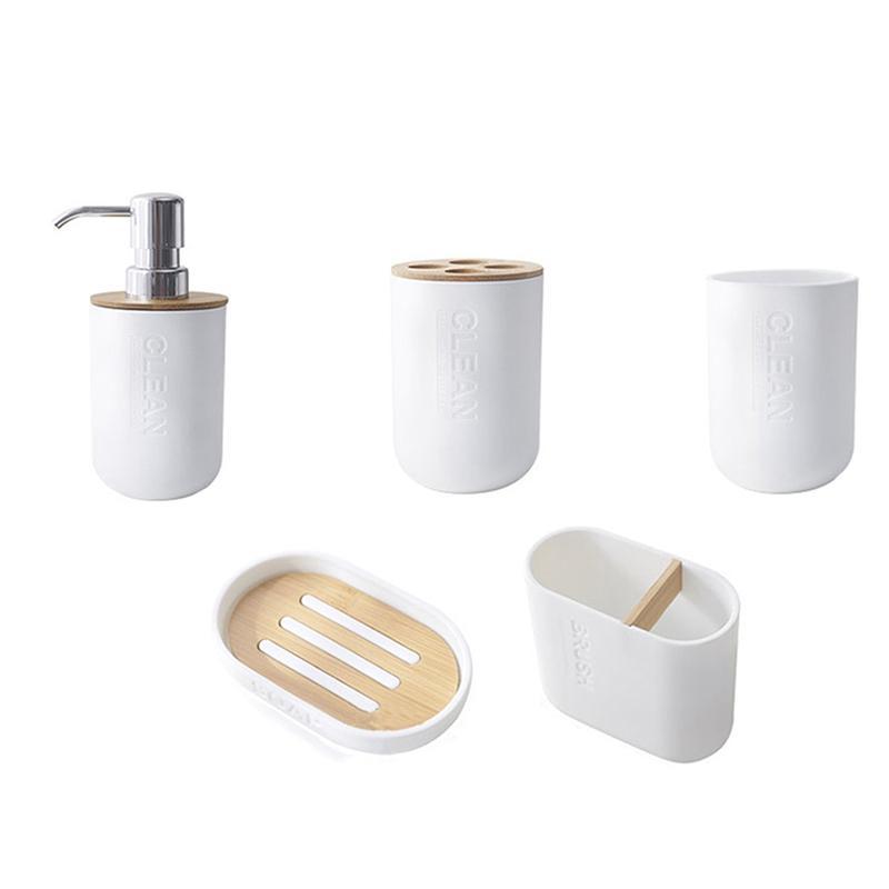 5pcs Bamboo Banho Set Toilet Brush Holder Escova de dentes Copo de vidro Soap dispensador de sabão Acessórios Dish Banho