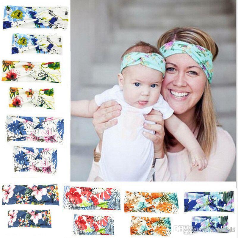 Mother Daughter Headband Lot Set of 3 Turban Bow Knot Cotton Hair Accessories