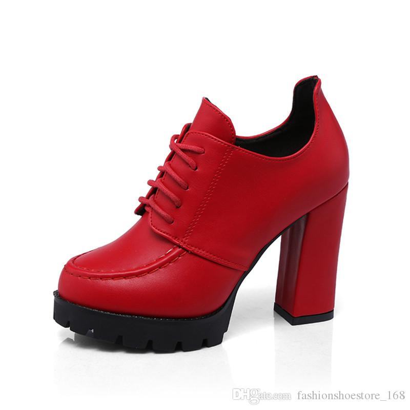 Thick Heels with Platform Pumps Women Shoes New 2019 British Style Ladies High Heel Shoes Fashion Lace Up Womens office Shoes