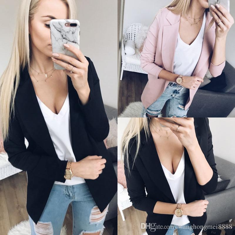 OL casuale sottile manica lunga giacca sportiva Feminino Donne Blazer Giacche Top vestito casual Giacca Blazer Cardigan aperto Stitch Zip-up
