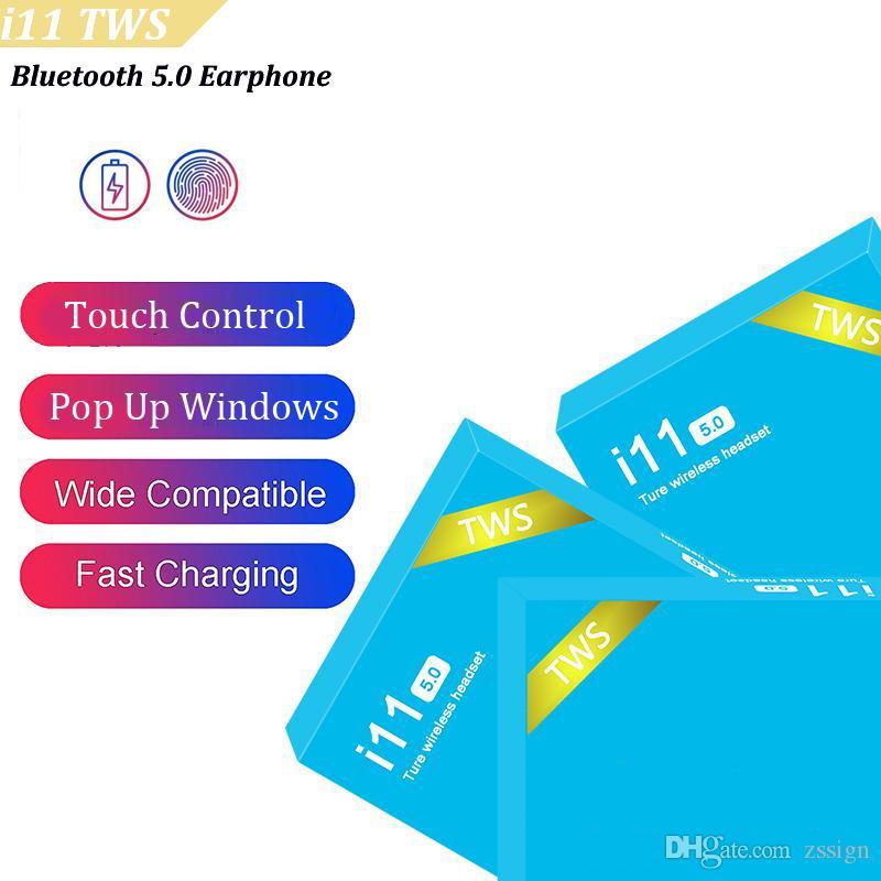 I11 TWS 무선 블루투스 헤드폰 이어폰 소매 파란색 상자와 IOS 안드로이드 5.0 터치 팝업 창 트윈스 미니 이어 버드와
