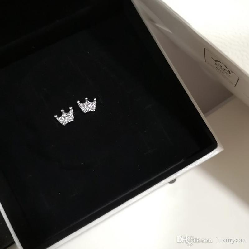 Boucles d'oreilles classiques d'oreille délicate couronne pour Pandora 925 argent rose dames de personnalité de diamant CZ plaqué or boucles d'oreille avec la boîte