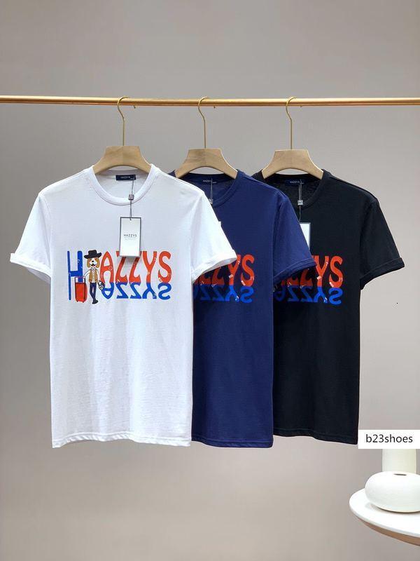 Marka Hazzys bahar ve yaz yeni kısa kollu tişört buz duyarlı Pamuk Moda yuvarlak boyun