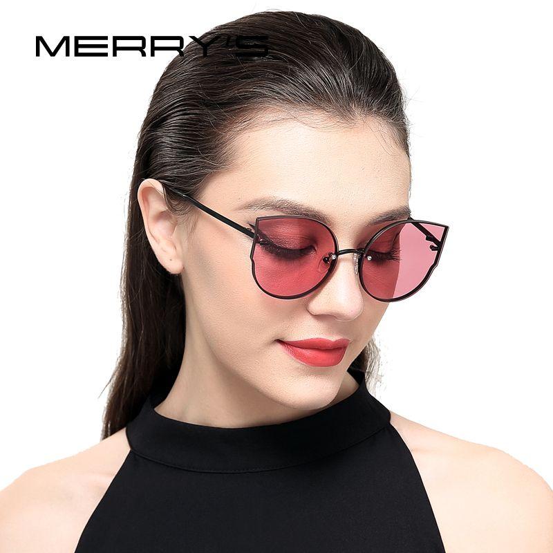 Merrys Kadınlar Klasik Marka Tasarımcı Kedi Göz Güneş Rimless Metal Çerçeve Güneş Gözlükleri S8099