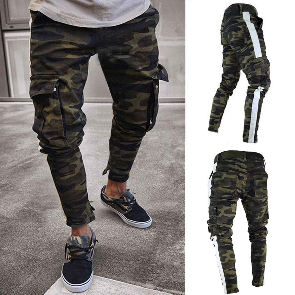 Pantalones para hombre de Carga Denim Jeans Pantalones Slim Fit Streetwear Hip Hop informal plisado otoño flaco camuflaje estiramiento Sportwear