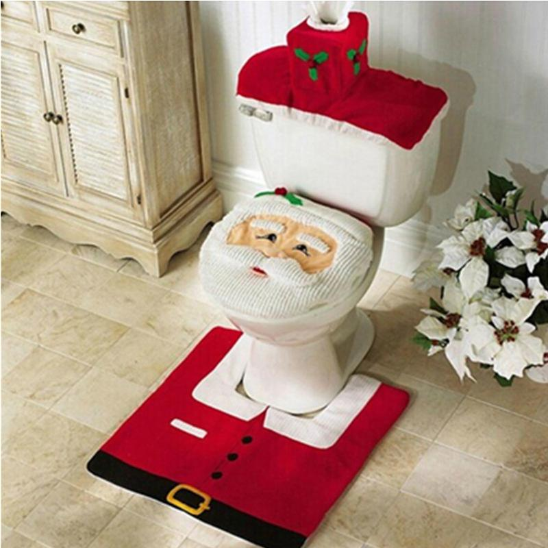 3Pcs/lot Christmas Best gift Happy Christmas Santa Toilet Seat Cover and Rug Bathroom Set Decorations for new year