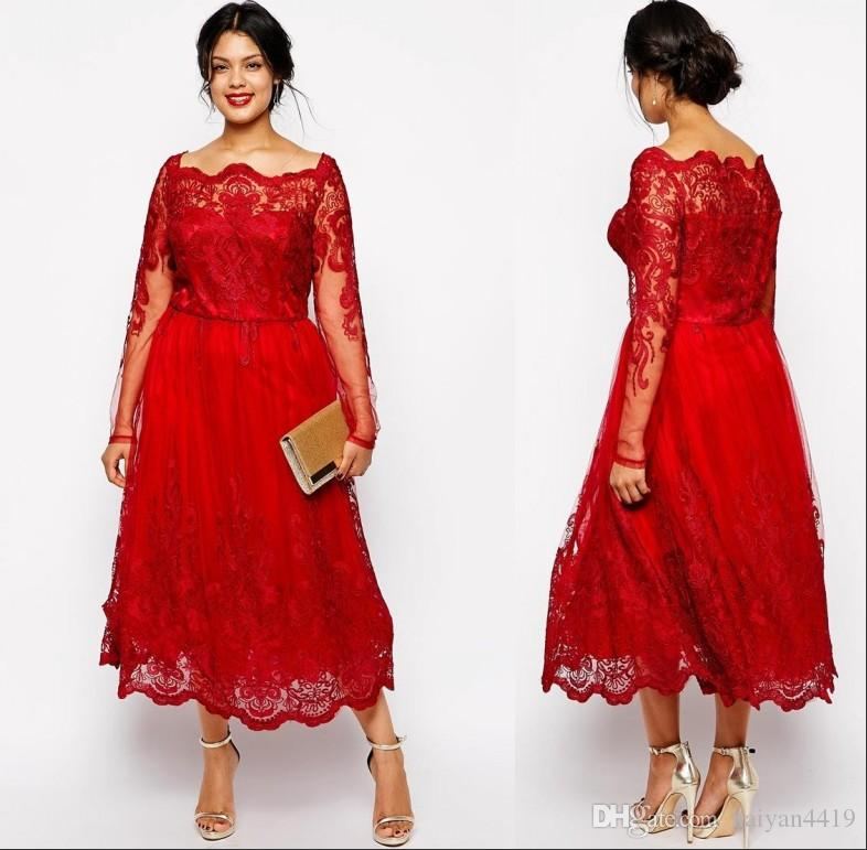 Vintage Cheap Red Mother of the Bride Dresses Off Shoulder Long Sleeves Lace Appliques Tea Length Plus Size Party Dress Wedding Guest Gowns