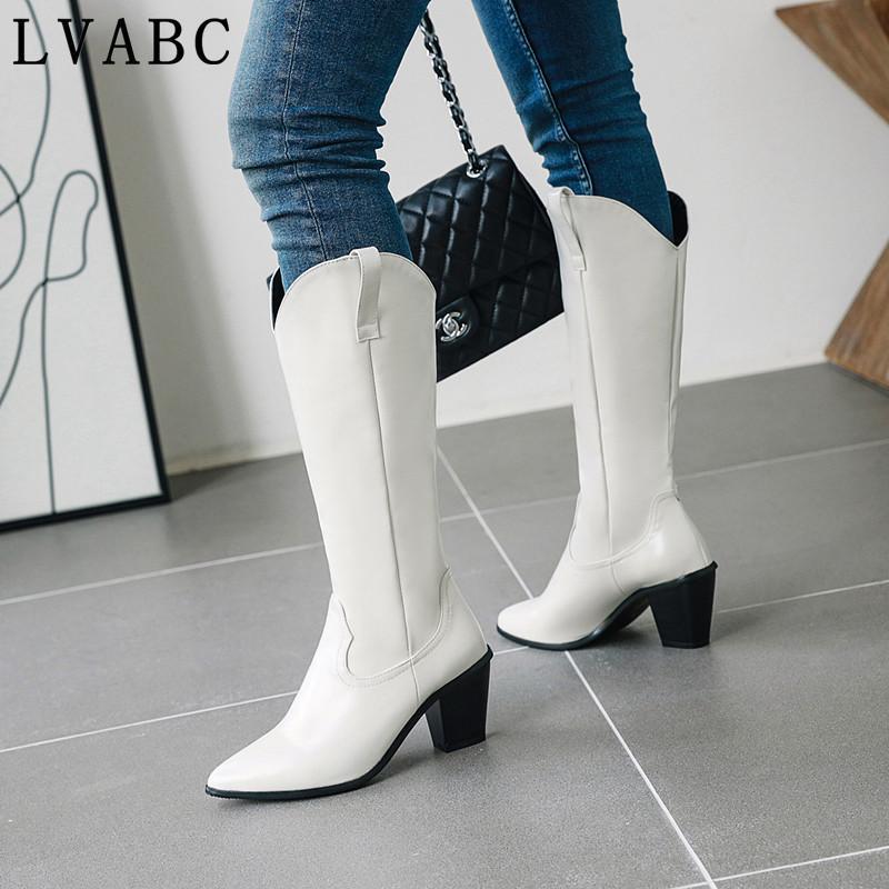 microfibra mulheres de couro joelho botas altas sexy toe pontas ocidentais botas de vaqueiro mulheres meados de bezerro botas cunha robusto