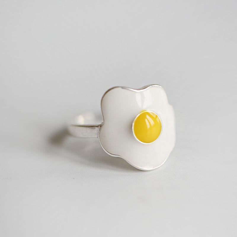 Eiform Ring Modeschmuck für Geburtstagsparty weiblicher Geschenke S925 Sterlingsilber mit offenem Ring Temperament Persönlichkeit gebraten