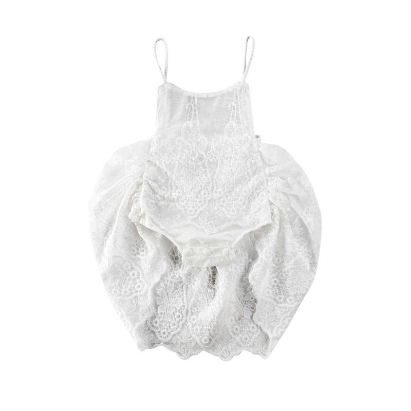 Pudcoco Prenses Kız Bebek Dantel Çiçek Bodysuit Çocuk Beyaz Tulum Kolsuz Tek parça Yaz 2020 Elbise Kıyafet Giyim