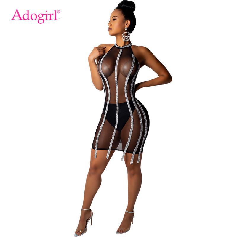 vendita all'ingrosso paillettes Sheer Mesh Bodycon Night Club Dress Sleeveless Halter Guaina Mini Party Abiti Donna Abiti sexy Abiti
