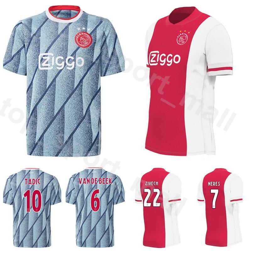 2020 2021 футбол Аякс Джерси 10 Тадич 6 ван де Бик 7 Нерес 9 Хунтелаар 22 Зиех 25 Долберг Альварес комплекты футбольных рубашек