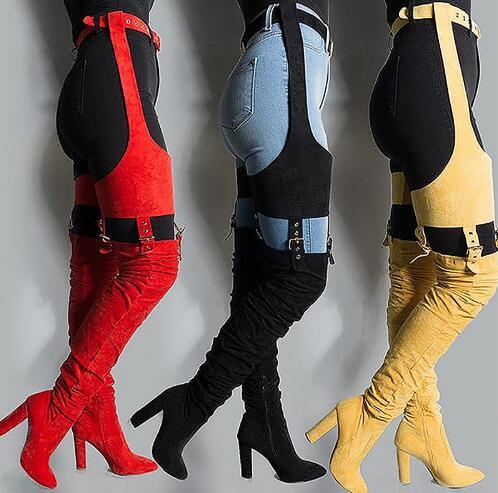 Hot Rihanna Flock High Boots Winter Over Knee Fashion Heeled Boots Strap Solid Pointed Toe Square Heel Zip Rubber Boots