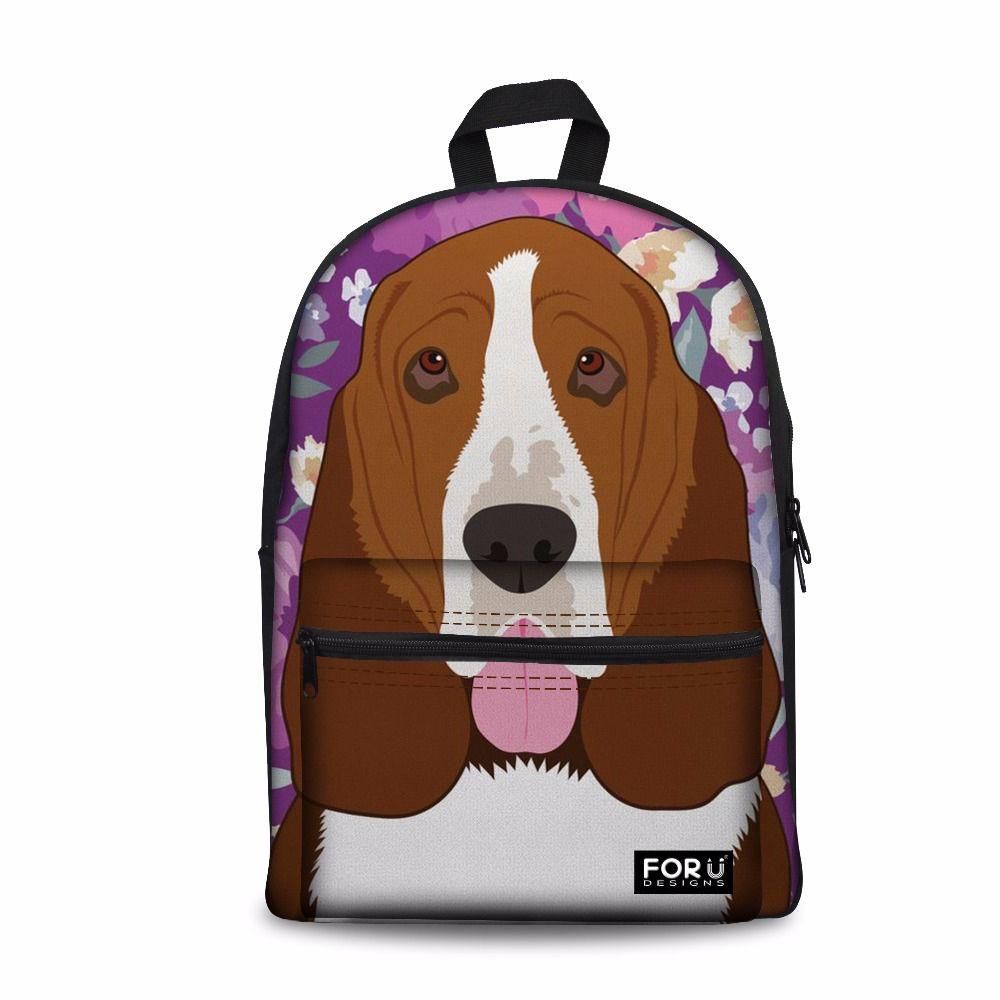 Customized Basset Hound Dog Pattern School Backpack For Boys Girls Kids Bags Children Back to High School Bags Child Satchel