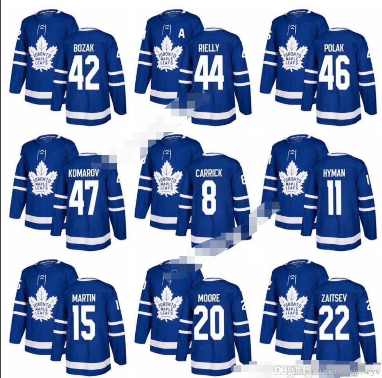 2017-2018 New Toronto Maple Leafs chandails de hockey 8 Connor Carrick 20 Dominic Moore 31 Frederik Andersen 47 Leo Komarov 46 Roman Polak amour