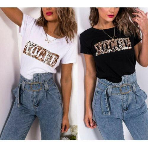 Da forma das mulheres Camiseta Novas Cartas Impresso manga curta Casual Leopard Pattern Top Tees for Summer New 2020 lll9062506 Atacado