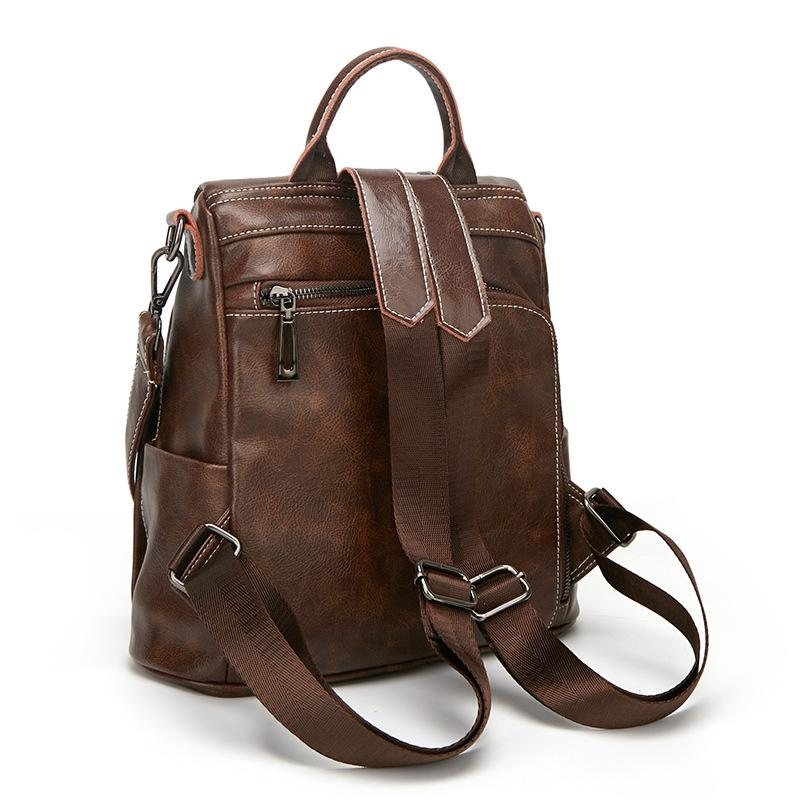 Avrupa ve Amerikan 2.019 yeni eğlence vahşi net çanta kadın kırmızı çift kullanımlı sırt çantası niş deri sığır derisi omuz çantasını Retro