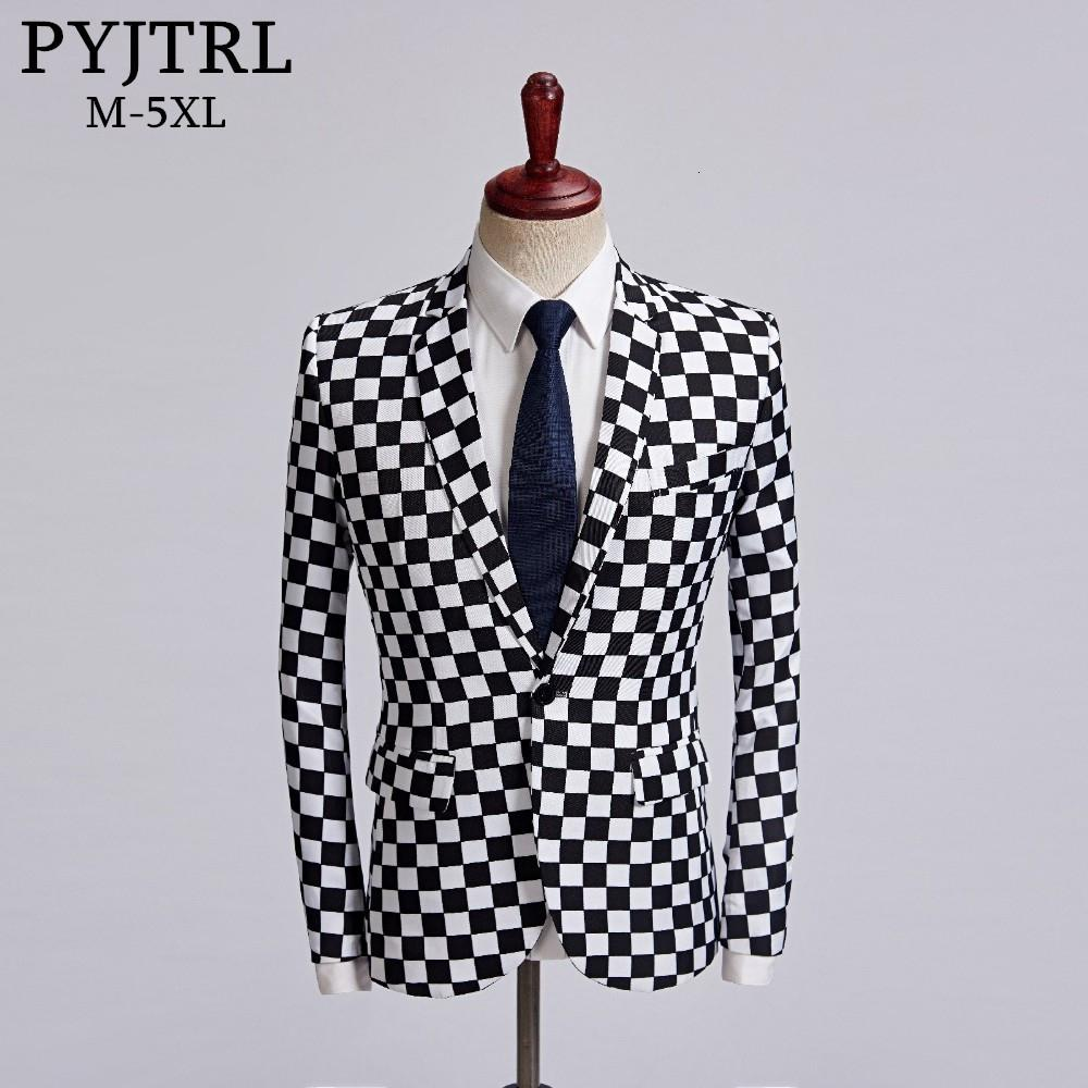 PYJTRL Tide Male Black White Plaid Blazer Design Mens Plus Size 5XL Fashion Suit Jacket Singer Costume Homme Slim Fit Outfit Y191119