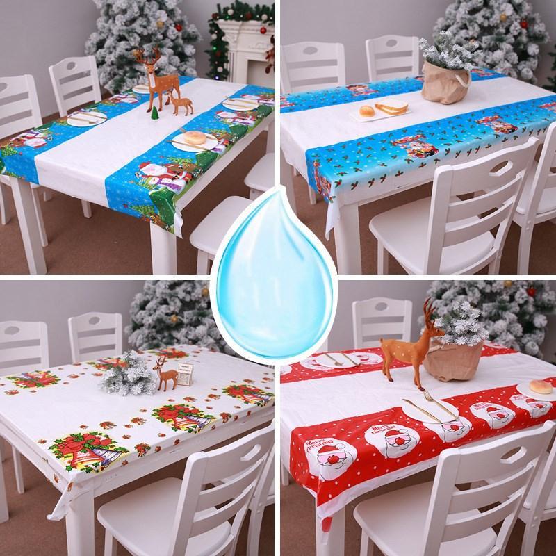 السنة الجديدة الرئيسية مطبخ طاولة الطعام زينة عيد الميلاد للمنزل مفرش طاولة مستطيلة PVC حزب عيد الميلاد يغطي الحلي
